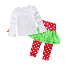 2017 Cotton Christmas Tree Print Long Sleeve Casual Chic Style Sets Cute Children's Christmas skirt pants Top Set(China)