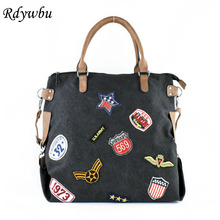 Rdywbu Plus Size Fashion Patches Canvas Handbag Women Trendy Shoulder Bag Sequins Star Letters Badges Cross Body Tote Bolsa B415(China)