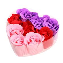 9pcs Heart-Shaped Love Soap Flower Heads DIY Home Decoration Wedding Party Decor Artificial Flowers Handmade Flowers(China)