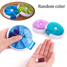 Hot Weekly Rotating Sort Pillbox Travel Pill Container Pills Organizer Medicine Box Drugs Case Cute Round Pill Cases HB88