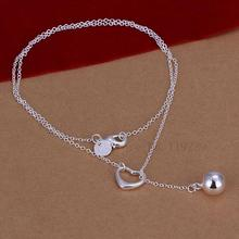 LN164 Fashion Silver Love Heart Bell Pendant Thin Necklace Women Brand Jewellery Items Hot Collier Wholesale & Retail Bijoux(China)