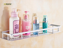 1PC Aluminum Dual Tier Bathroom Conner Shelf Basket Kitchen Bathroom Shelf Wall Mounted Bathroom Shower Caddy Shelf KF 2009(China)