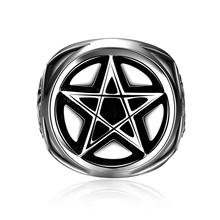 Cool Men Celebrity 316l Stainless Steel Pentagram Punk Ring Biker Motor Male For Simple Superstar Party Man Rings Jewelry Gifts(China)