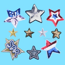 1Pc Star Sequins Patch Cloth Embroidered Appliques Sew On Patches Clothes Garment Dress DIY Gold Logo Brand patches Iron On(China)