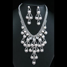Bridal Wedding Party Drag Queen Crystal Simulated Pearl Necklace Earrings Set CS1147