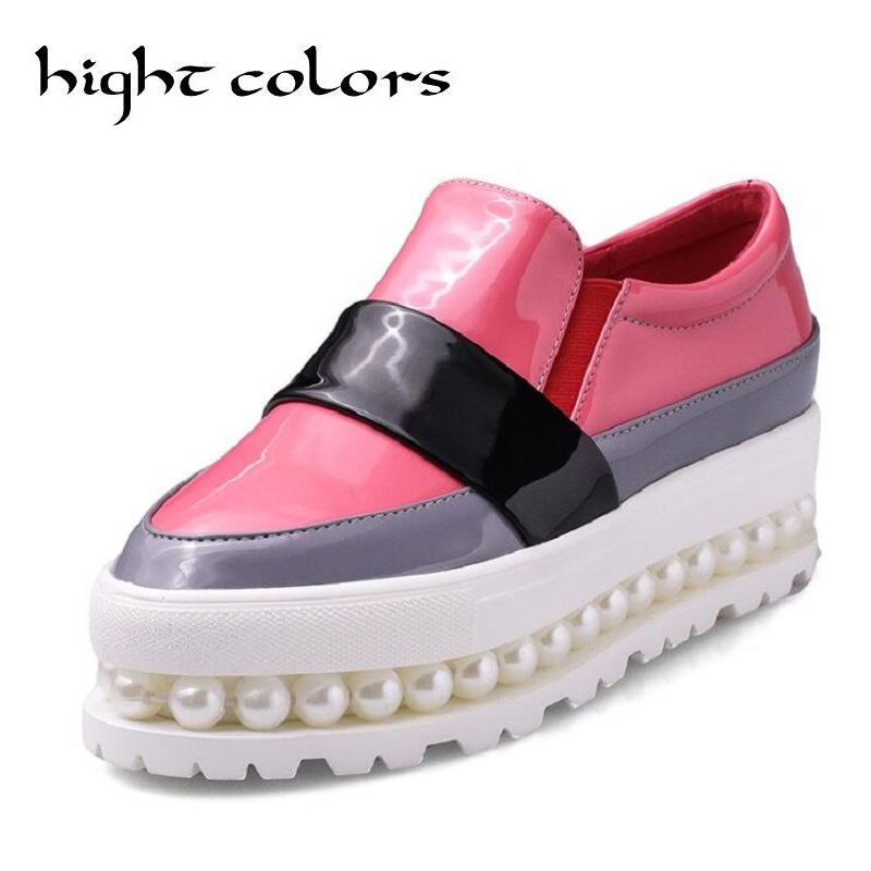 Fashion Color Block 4.5CM Thick Bottom Bead Waterproof Platform Shoes Leisure All-Match Women Loafer Patent Leather Creepers <br>