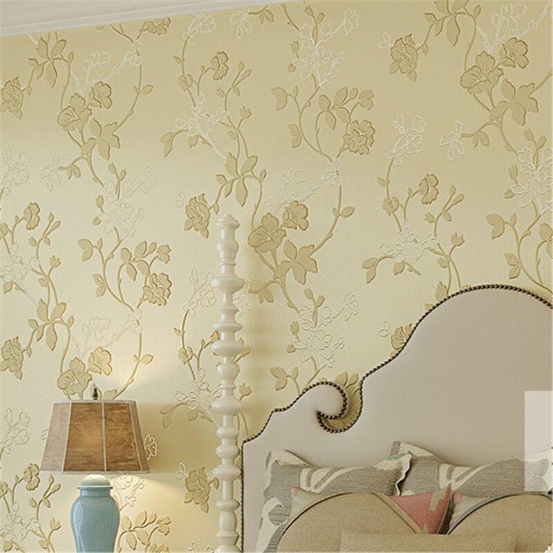 beibehang 3D pastoral wind flower non - woven wallpaper wallpaper bedroom living room clothing store pink warm green wallpaper<br>