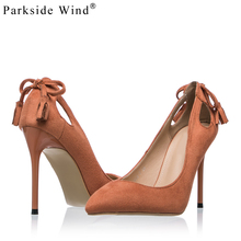 Parkside Wind Fashion Pointed Toe Pumps Suede Leather Concise High Heels  Women's 10cm Party Heels with Bow Shoes Woman -5