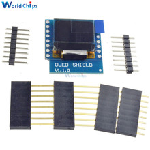 Free Shipping Mini 0.66 Inch 64X48 OLED Shield for WeMos D1 IIC/I2C SSD1306 IC Drive Oled Module 3.3V With Pins for Arduino