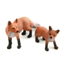 Starz PVC Animals World Red Foxes with Baby Static Model Plastic Action Figures Toys Gift for Kids