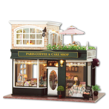 Wooden Dollhouse Miniature 3D Kits Paris Coffee & Cake Shop Model & furnitures Show Photos & Sound control Swich LED & Music box(China)