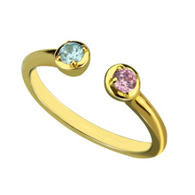 Dual Birthstone Ring Gold Color Personalized Two Birthstones Ring Couple Ring