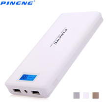 Genuine PINENG PN 999 20000 MAh Dual USB Charging Power Bank External Battery Charger Portable PowerBank With LCD Screen Display(China)
