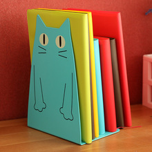 2 Pics/Lot bookend Desk Book Organizer School Shelves For Books Holder Stand Metal Bookends Iron Cute Animal cat color random(China)