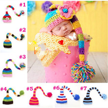Baby Hat Newborn Pixie Elf Christmas Beanies Cap Crochet Knit Photography Props Infant Stocking Hat Free Shipping H087(China)
