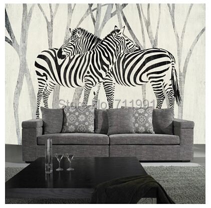 Free shipping custom 3D mural classic retro modern sofa bedroom TV backdrop wallpaper zebra wallpaper<br><br>Aliexpress