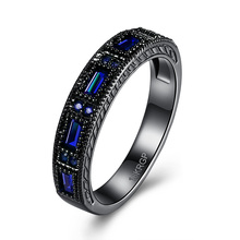 Blue Wedding Bands Black Plated eternity Finger Rings For Women Round Circle Created purple Zirconia CZ Promise Rings