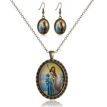 New Jesus Photo Jewerly Sets alloy Necklaces And Earring Necklace/Earrings For Women Girl Christmas Gifts