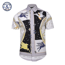 2017 Brand Clothing Men 3D Short Sleeve Shirt Print Golden Flowers Zebra Fashion Mens Chemise Homme Camisa Masculina Tops Shirts