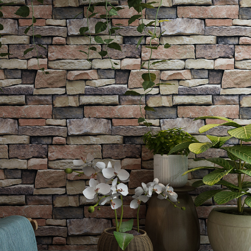 Beibehang Retro nostalgia 3D stereoscopic imitation brick bricks wallpaper personality stone pattern bar KTV cafe 3d wallpaper<br>