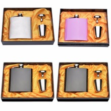 Complete Private Personalized Engraved 6 oz Stainless Steel Hip Flask Any Simple Design With 1* Funnel 2* Glasses 1* Gold Box