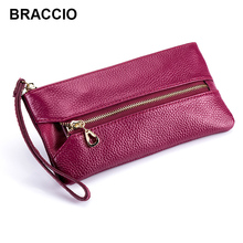 Women Genuine Leather Clutch Bag First Layer of Cowhide Litchi Grain Female Multifunctional Purse Mobile Phone Pocket Key Holder(China)