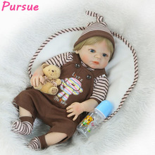 "Pursue 22""/55cm Handmade Reborn Baby Soft Silicone Baby Dolls for Sale Reborn Full Body Silicone reborn de silicone inteiro 55cm"