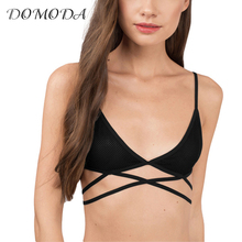 DOMODA  2017 New Fashion Women Black Sexy Push Up Lace Cross Back Adjustable Strap Bralettes Wireless Underwear Soft Nets Bras