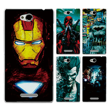 "For Sony Xperia C S39H CN3 C2304 C2305 5.0"" Phone Case Cover Charming Marvel Avengers Captain America Iron man Back Fundas Capa"