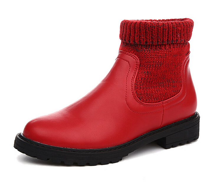 New 2017 winter womens boots pu Round Toe snow boots Square heel Ankle boots snow for women red female Martin boots<br>