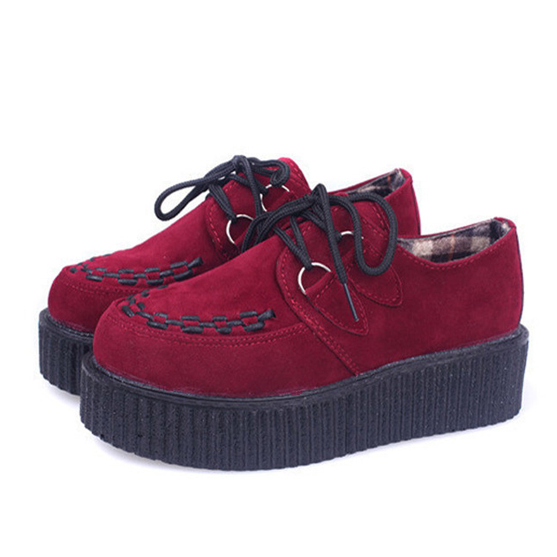Creepers Shoes Women Causal Shoes Creepers Platform Shoes Flats Sapatos Mujer Black Red<br><br>Aliexpress