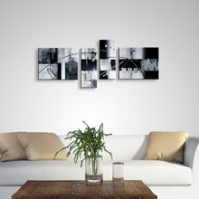 4 Panel Pictures Modern Home Decor Wall Art Hand Painted Abstract Oil Painting On Canvas Graffiti Line Black & White Paintings