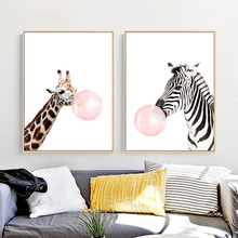 Giraffe Zebra Chewing Gum Canvas Mural Poster Nordic White Based Wall Painting Cute Animal Art Paper for Bedroom Cafe Home Decor
