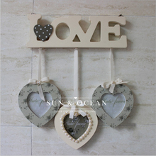 3 boxes/set love wood frame for Home Decoration Heart Photo Frame Wall Hanging Wall Picture Album(China)