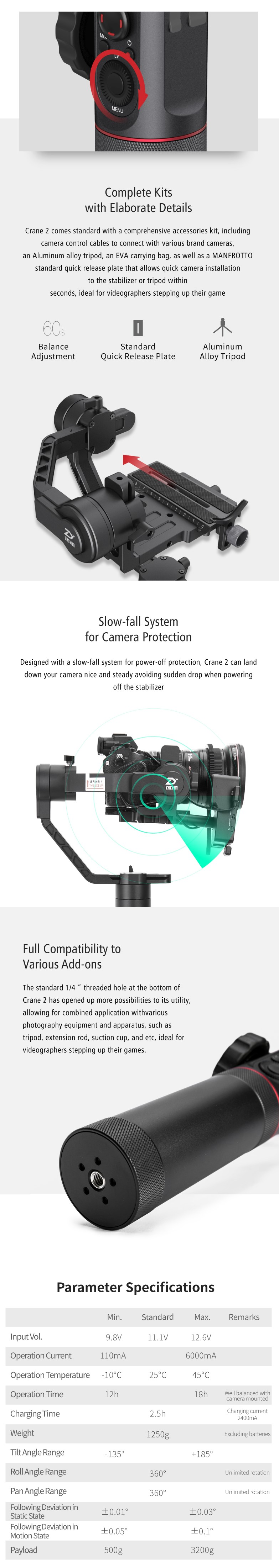 Zhiyun Crane 2(Servo Follow Focus Included)3-Axis Handheld Gimbal Stabilizer Wireless Remote 7lb Payload Display 18H Runtime2