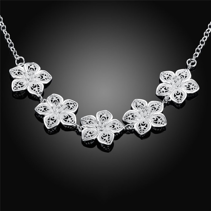 Women's jewelry 925 sterling silver Rose flower charms statement Bijoux necklace Colar de Prata female Christmas gift
