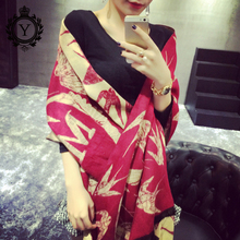 COUTUDI 2017 Autumn Thicken Shawls Women Pashmina Bird Tiger Block Capes Warm Winter Scarves Cashmere Scarf Tassel Letter Wraps