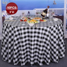 Factory Wholesale 10PC Polyester Tablecloth Round Home Party Dining Table Cover Cloth Classic Plaid Wedding Banquet Table Linen