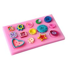 New Arrival cute and beautiful buttons shape Silicone Mold Cake Decoration Fondant Cake 3D Food Grade soap chocolate Moulds D115