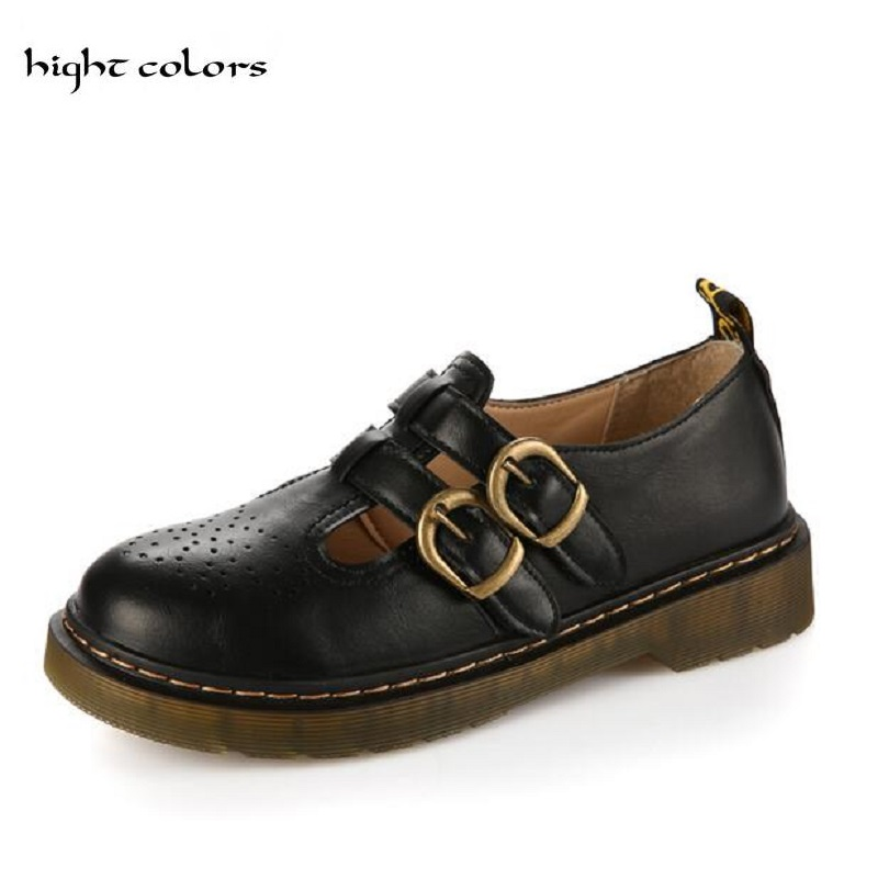 2018 Womens Ladies Vintage Harajuku Oxford Shoes Carved Platform Thick Heel Round Toe Hasp Flats Shoes Women Students Shoes<br>