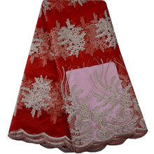 Buy Red Beautiful African French lace fabric plenty bead stone! Latest Nigerian French lace Fabric Wedding dress! 921 for $39.15 in AliExpress store