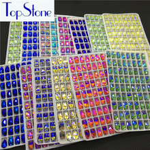 All AB Colors 72pcs/pack 7x12mm Teardrop Sew on Flatback Rhinestones 2 Holes Sewing Glass Crystal for Farments DIY Accessories