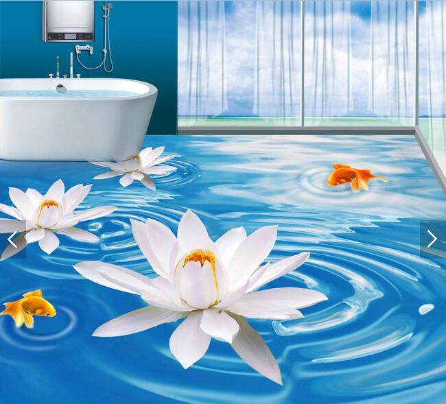 3d flooring custom waterproof wallpaper 3 d lake white lotus goldfish 3d bathroom flooring picture photo wallpaper for walls 3d<br>