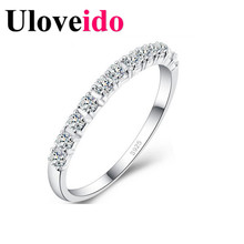 White Crystal Rings for Women Fianit Cubic Zirconia Jewelry Vintage Purple Ring with Stones Valentine's Day Gifts Uloveido J029(China)