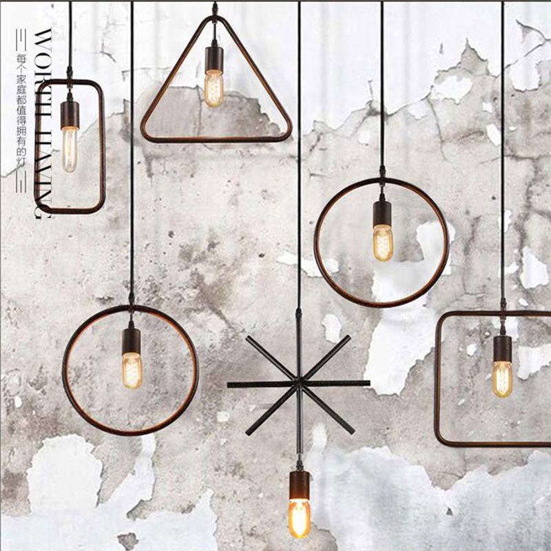 SINFULL Retro geometric Loft iron Pendant Lights Industrial Vintage American black Lamps Restaurant indoor suspension lighting<br>