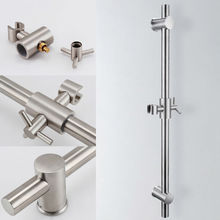 KES F203-2 Stainless Steel Slide Bars with All Brass Handheld Shower Bracket Height and Angle Adjustable, Polished/Brushed Steel