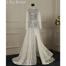 A Line High Neck Split Leg Illusion Lace Sexy Wedding Dresses Factory Custom Made to Measurement