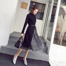 Nueva moda invierno mujeres trajes cinturón tejer dos piezas elegante larga  Irregular del suéter Tops plisado Mediados de falda . f8f5cd58054f