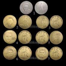 7 Designs of Elvis Presley Coins 7pcs/Set of the King of Rock Roll 1935 -1977 Super Star Coin Free Shipping(China)
