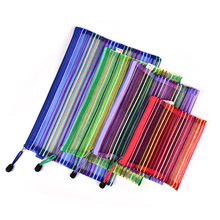 Peerless 1 Pc Colorful Lines Pencils Bags Cute Plush Pencils Case Large Capacity School Supplies Stationery Pen bags Random(China)